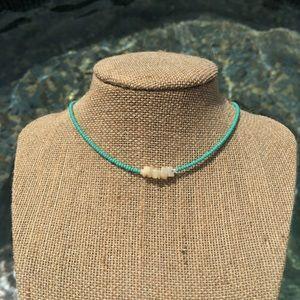 Puka shell and turquoise choker